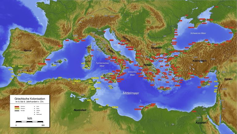 Map of Greek and Phoenician colonization. Click for full size.
