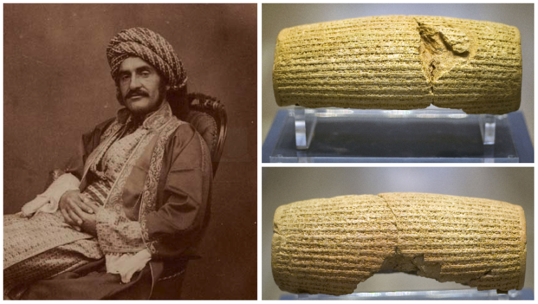 Left: Hormuzd Rassam who unearthed Cyrus' Cylinder Right: Cyrus' Cylinder