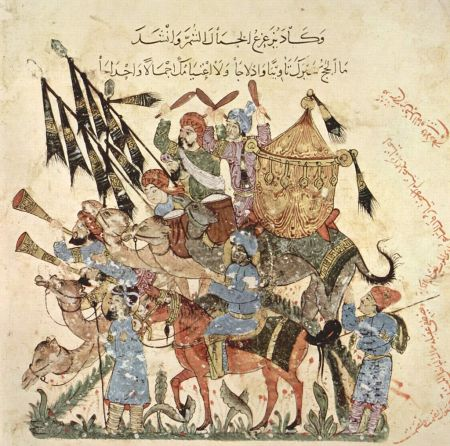A 13th-century book illustration produced in Baghdad by al-Wasiti showing a group of pilgrims on a hajj.