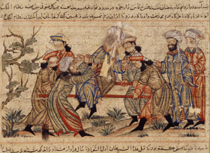 """14th-century painting of the assassination of Nizam al-Mulk by an assassin."""